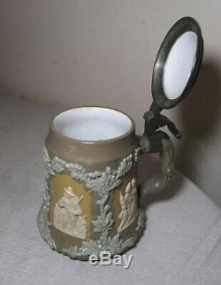 Antique Mettlach Villeroy & Boch German pottery pewter figural lidded beer stein