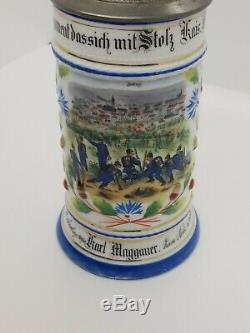 Antique Painted German Beer Stein 9 War Scene Ornate Pewter Lid with Crystal Rare