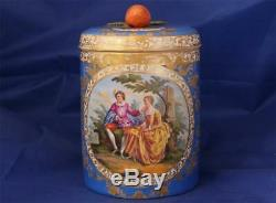 Antique Porcelain German Beer Stein Hand Painted Gallant Scene Meissen c. 1870s
