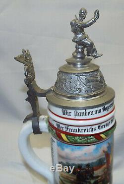 Antique Porcelain German Regimental Beer Stein with Lithophane 1906 Flawless