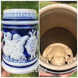 Antique Pre-prohibition Grey Stoneware German Beer Stein Blue Island IL. Saloon