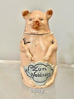 Antique Rare Figuralpig 1/2 Pint 5 German Beer Stein Zum Wohlsein #1381
