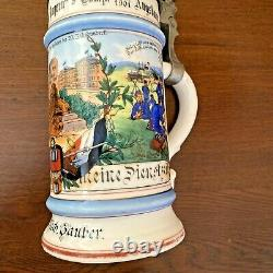 Antique Regimental Military German Beer Stein Pewter Lid King Ludwig Lithopane