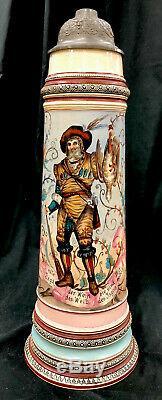 Antique Reinhold Hanke German Beer Stein 4.5 L The Hunters Past Time Pleasures