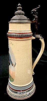 Antique Reinhold Hanke Painted German Beer Stein Titled Drinking Man 1183 2L