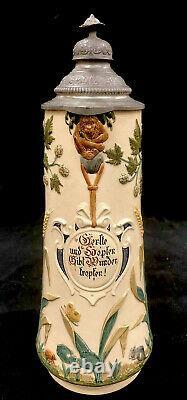 Antique Reinhold Merkelbach German Beer Stein Barley And Hops Pewter Lid