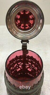 Antique Ruby Red Glass and Pewter German Beer Stein Tankard