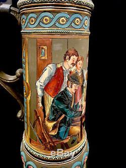 Antique S P Gerz German Beer Stein No 1347 Titled Card Game 3 Liter