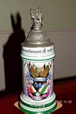 Antique Saxon Double Regiment Artillery Regimental German Military Beer Stein