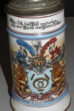 Antique Soldier GERMAN MILITARY REGIMENTAL BEER STEIN Lithophane Germany