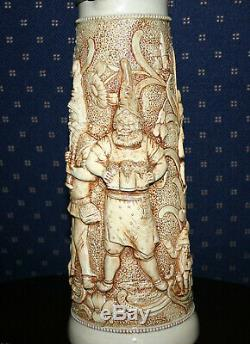 Antique Tall German Beer Stein Embossed Design & Patterns On Pottery