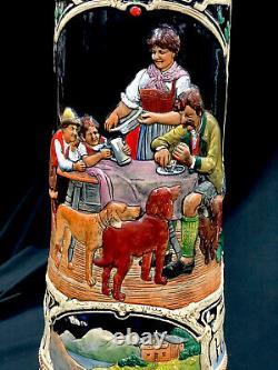 Antique Thewalt Extra Large German Beer Stein Hopfen U Malz Gott Erhalts