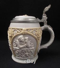 Antique Villeroy & Boch Mettlach Lidded Pottery Beer Wine Stein German