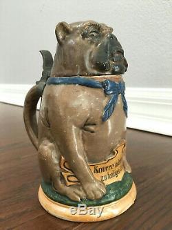 Antique Vintage Reinhold Hanke Character German Beer Stein Bulldog