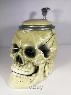 Antique Vintage Skull Character German Beer Lidded Stein 0,5 l. SKULL BEER STEIN