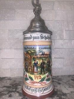 Antique WWI German Regimental Lidded Beer Stein 1903