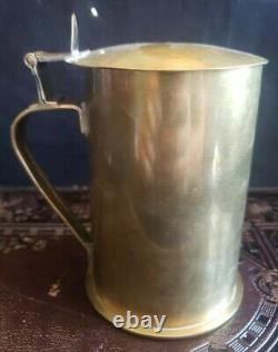 Antique WWI Trench Art German Beer Stein Made From Artillery Shell Brass 1913