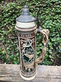 Antique german lidded beer stein
