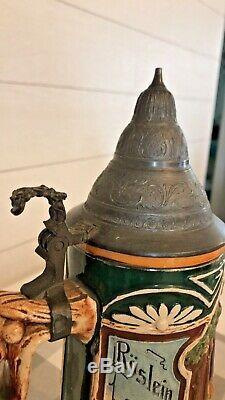Antique german lidded beer steins