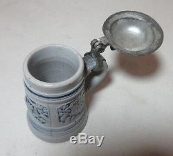 Antique hand made German pottery pewter miniature lidded beer stein mug tankard