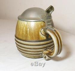 Antique hand made glazed pottery pewter German lidded beer stein mug tankard