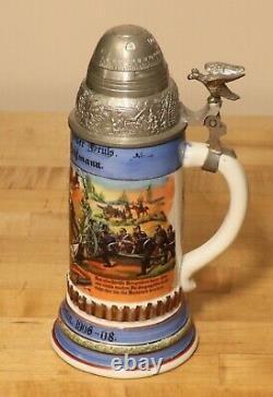 Artillery Antique German Regimental beer stein with screw fuse lid + litho 1/2L