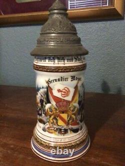 Authenticc German Regimental Beer Stein with Lithophane 1900-1902