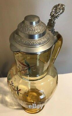 BIG Bohemian German 19c Theresienthal Moser enamel amber glass BEER STEIN JUG