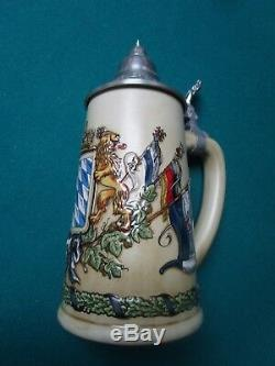 Bayern (Bavarian) Coat of Arms With Flags Authentic German Beer Stein, 0.5 L