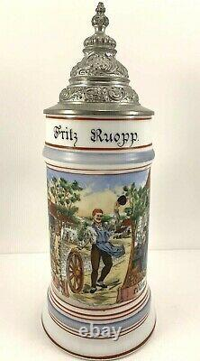 Beautiful Antique c1900 German Beer Stein Occupational Wheelwright WithLithophane