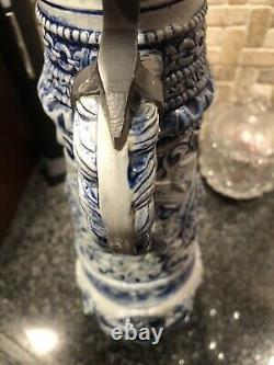 Beautiful Ornate Vintage German Glaze Cobalt Blue Glaze Beer Stein 18.5 Limited