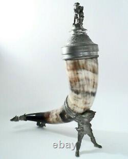 Beautiful Rare Antique German Steer Horn & Pewter Beer Stein Dated 1884