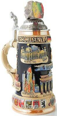 Berlin Wall with Landmarks LE Relief German Beer Stein. 75L Handcrafted Germany