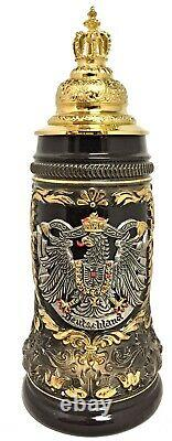Black Deutschland Eagle with Gold Pewter Crown Lid LE German Beer Stein. 5 L