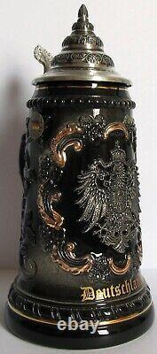 Black Deutschland Germany with Pewter Eagle LE German Beer Stein. 5L Oktoberfest