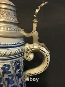 Blue And Grey Antique Rm Reinhold Merkelbach Lidded German Beer Stein. 5 Liter