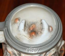 Bohne Sohne Devil & Skull Two faced German 1/4L beer stein Antique # 5940