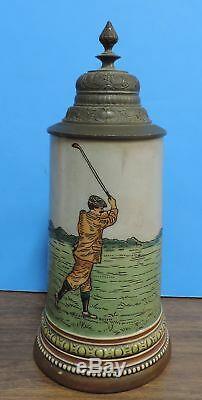 Ca. 1900 HR Hauber & Reuther 1001 Golfer Golf German Lidded 1/2 L Beer Stein