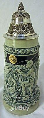 Collectable Embossed German Lidded Beer Stein. Fly Fishing Scene