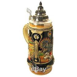 Collectable German Lidded Beer Stein. Hand-painted Austria City
