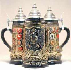 Deutschland Germany Pewter Eagle State Crests LE German Beer Stein. 5L One Mug