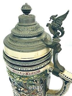 Dumler Breiden 197 3L Antique German Beer Stein Battle Teutoburg Forest Gift