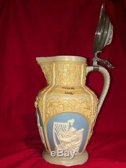 EXTREMELY RARE German Villeroy & Boch Mettlach 13 CAMEO BEER Stein PITCHER #6