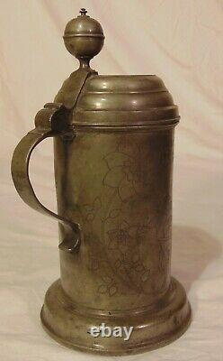 Early 19th C German Saxony Pewter Beer Stein 1814 Farmer Plow Hops Signed
