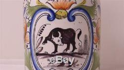 Early Antique German Faience Beer Stein Thuringen Factory withBull Design c. 1774