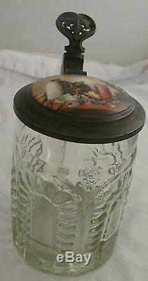 Early German Lidded Glass Beer Stein Cut Glass Porcelain Hand Painted Harvest