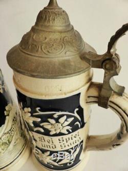 Eckhardt & Engler 370 Child's Steins, Antique Lidded German Beer Mugs Made 1910s