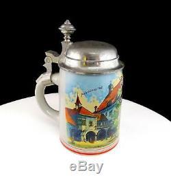 Eduard Rau Munchen German Monk & Hofbrauhaus Design 6 3/4 Beer Stein 1880-1910