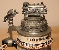 Eisenbahn German Regimental beer stein with train lid Railway antique