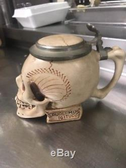 Ernst Bohne Sohne Mid Century Style Character German Beer Stein Lidded Mug Skull